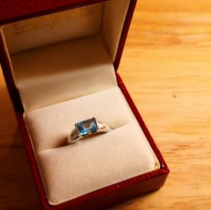 Blue quartz topaz silver ring
